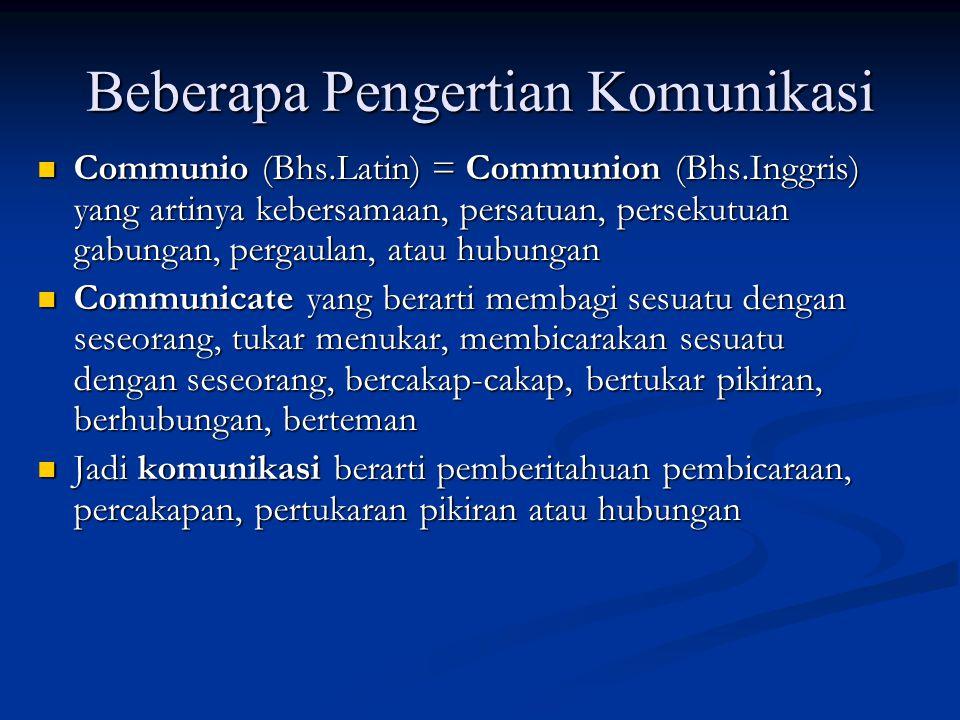 Beberapa Pengertian Komunikasi Communio (Bhs.Latin) = Communion (Bhs.Inggris) yang artinya kebersamaan, persatuan, persekutuan gabungan, pergaulan, at
