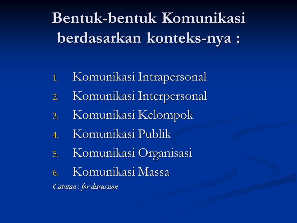 Bentuk-bentuk Komunikasi berdasarkan konteks-nya : 1. Komunikasi Intrapersonal 2. Komunikasi Interpersonal 3. Komunikasi Kelompok 4. Komunikasi Publik