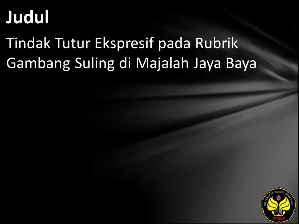 Judul Tindak Tutur Ekspresif pada Rubrik Gambang Suling di Majalah Jaya Baya