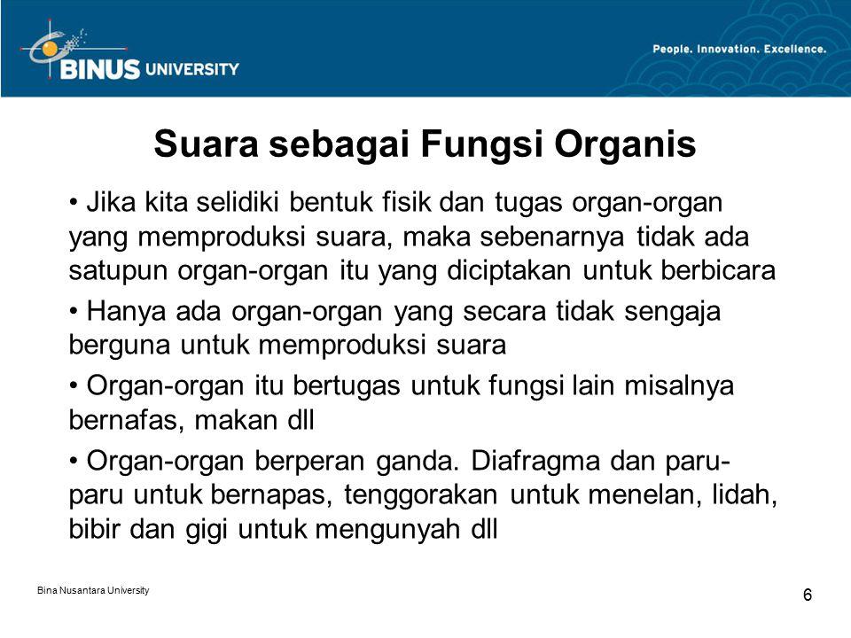 Suara sebagai Fungsi Organis Jika kita selidiki bentuk fisik dan tugas organ-organ yang memproduksi suara, maka sebenarnya tidak ada satupun organ-org