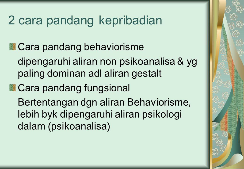 2 cara pandang kepribadian Cara pandang behaviorisme dipengaruhi aliran non psikoanalisa & yg paling dominan adl aliran gestalt Cara pandang fungsiona