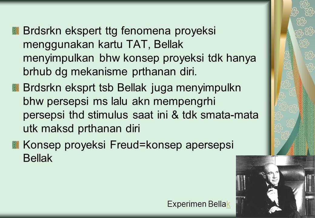 Brdsrkn ekspert ttg fenomena proyeksi menggunakan kartu TAT, Bellak menyimpulkan bhw konsep proyeksi tdk hanya brhub dg mekanisme prthanan diri. Brdsr
