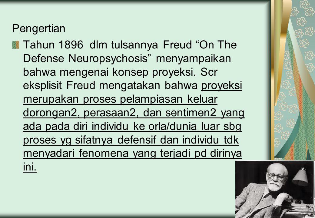 """Pengertian Tahun 1896 dlm tulsannya Freud """"On The Defense Neuropsychosis"""" menyampaikan bahwa mengenai konsep proyeksi. Scr eksplisit Freud mengatakan"""