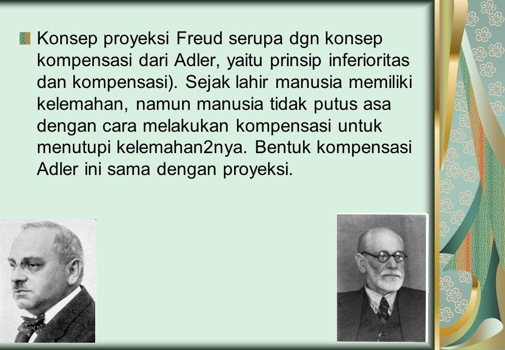 Konsep proyeksi Freud serupa dgn konsep kompensasi dari Adler, yaitu prinsip inferioritas dan kompensasi). Sejak lahir manusia memiliki kelemahan, nam
