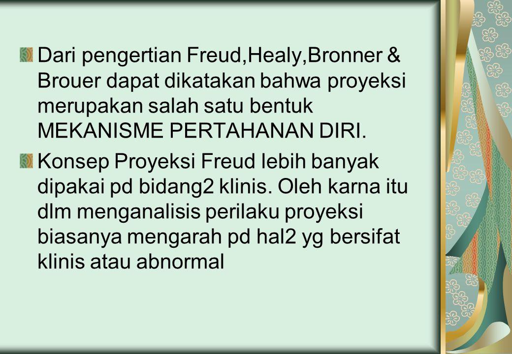 Dari pengertian Freud,Healy,Bronner & Brouer dapat dikatakan bahwa proyeksi merupakan salah satu bentuk MEKANISME PERTAHANAN DIRI. Konsep Proyeksi Fre