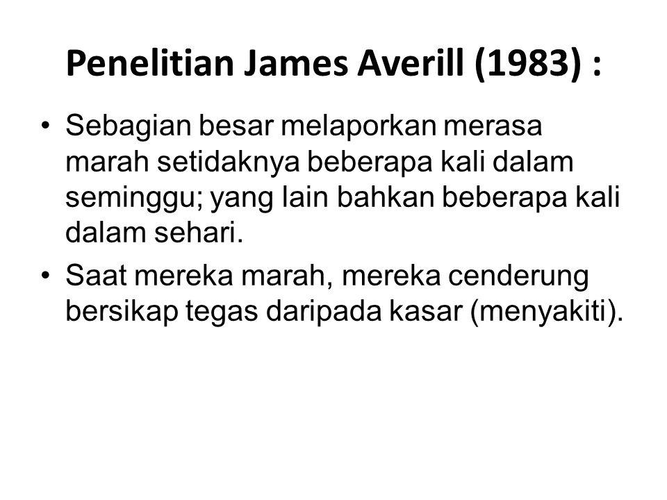 Penelitian James Averill (1983) : Sebagian besar melaporkan merasa marah setidaknya beberapa kali dalam seminggu; yang lain bahkan beberapa kali dalam