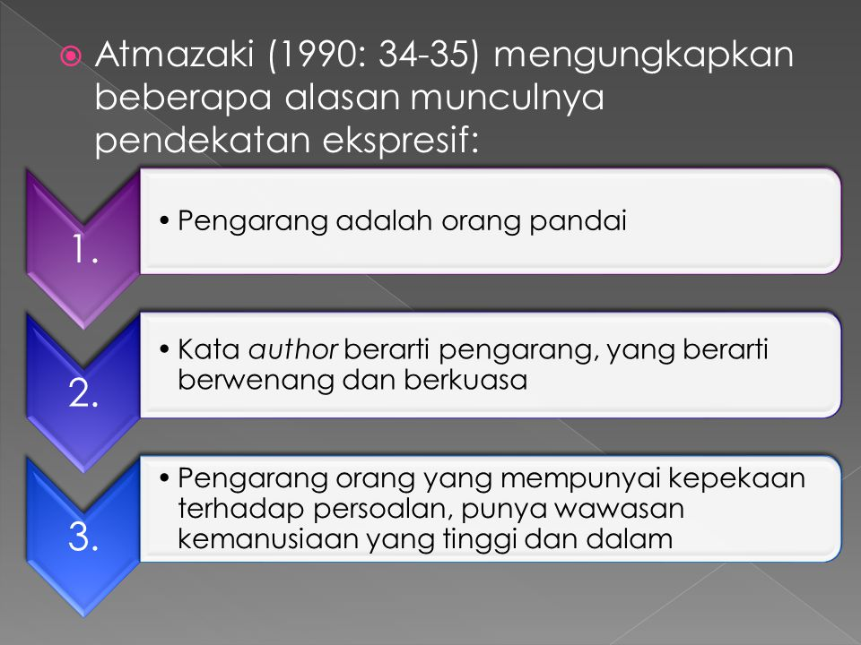  Atmazaki (1990: 34-35) mengungkapkan beberapa alasan munculnya pendekatan ekspresif: 1. Pengarang adalah orang pandai 2. Kata author berarti pengara