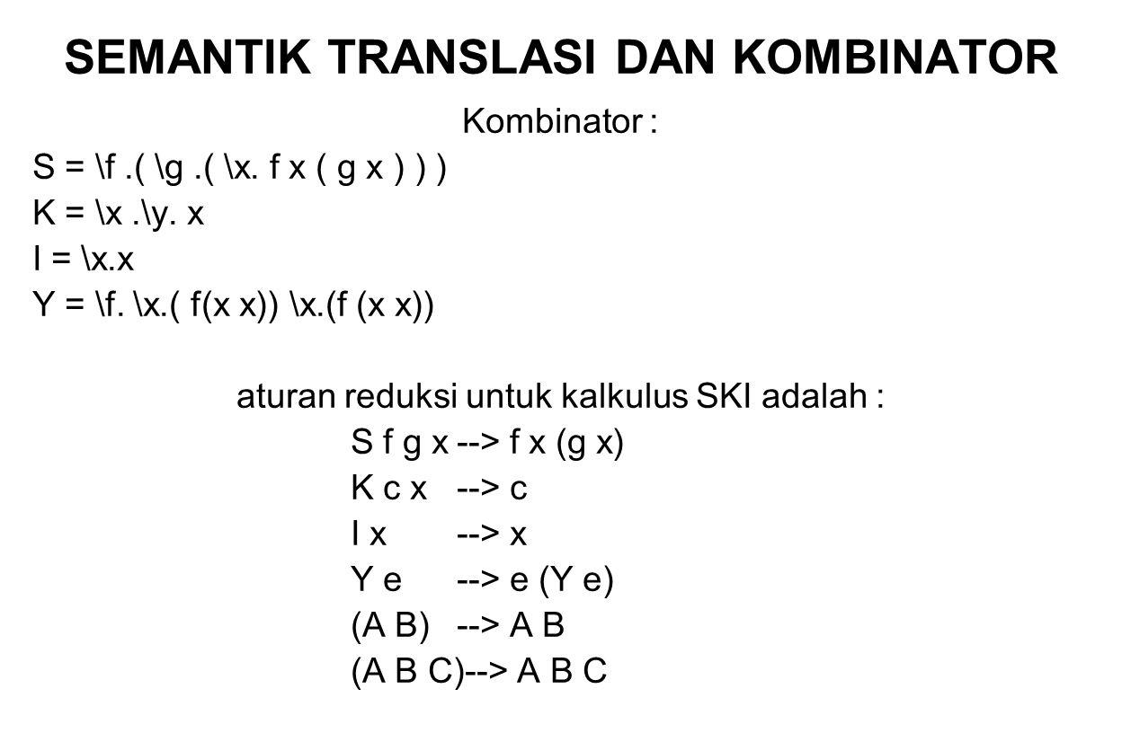 SEMANTIK TRANSLASI DAN KOMBINATOR Kombinator : S = \f.( \g.( \x. f x ( g x ) ) ) K = \x.\y. x I = \x.x Y = \f. \x.( f(x x)) \x.(f (x x)) aturan reduks