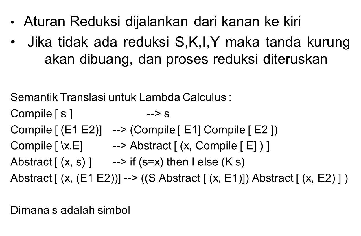 Aturan Reduksi dijalankan dari kanan ke kiri Jika tidak ada reduksi S,K,I,Y maka tanda kurung akan dibuang, dan proses reduksi diteruskan Semantik Tra