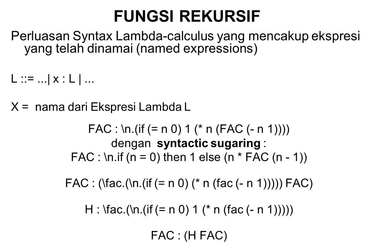 FUNGSI REKURSIF Perluasan Syntax Lambda-calculus yang mencakup ekspresi yang telah dinamai (named expressions) L ::=...| x : L |... X = nama dari Eksp