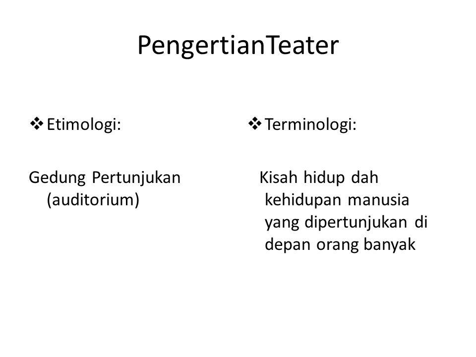 PengertianTeater  Etimologi: Gedung Pertunjukan (auditorium)  Terminologi: Kisah hidup dah kehidupan manusia yang dipertunjukan di depan orang banya
