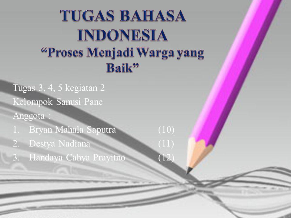 Tugas 3, 4, 5 kegiatan 2 Kelompok Sanusi Pane Anggota : 1.Bryan Mahala Saputra(10) 2.Destya Nadiana(11) 3.Handaya Cahya Prayitno(12)