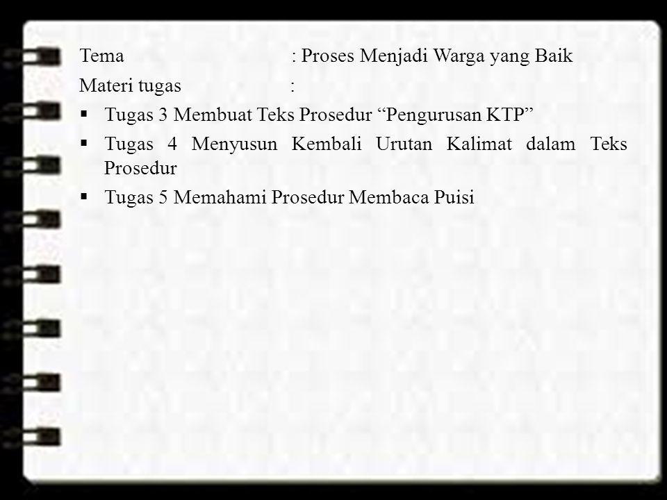 """Tema: Proses Menjadi Warga yang Baik Materi tugas :  Tugas 3 Membuat Teks Prosedur """"Pengurusan KTP""""  Tugas 4 Menyusun Kembali Urutan Kalimat dalam T"""