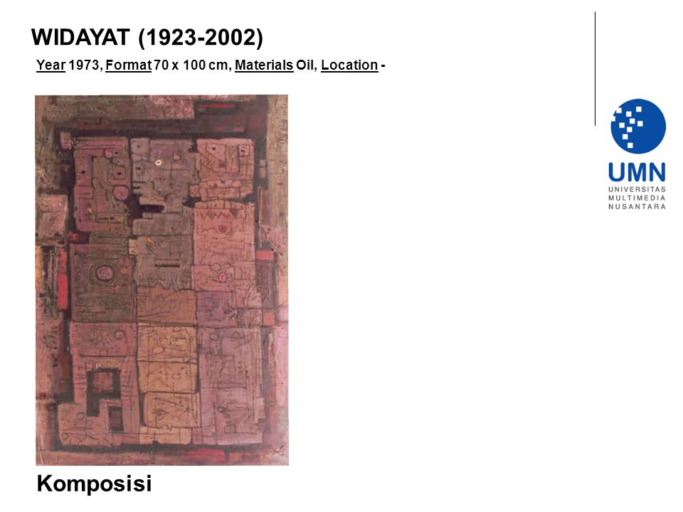 Year 1973, Format 70 x 100 cm, Materials Oil, Location - Komposisi WIDAYAT (1923-2002)