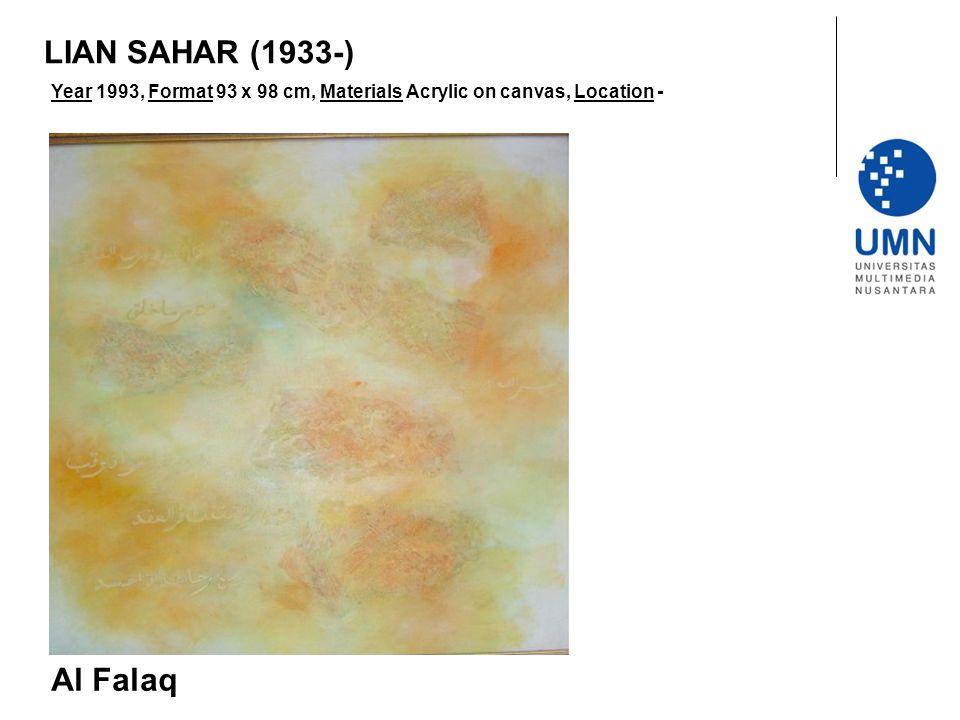 Year 1993, Format 93 x 98 cm, Materials Acrylic on canvas, Location - Al Falaq LIAN SAHAR (1933-)