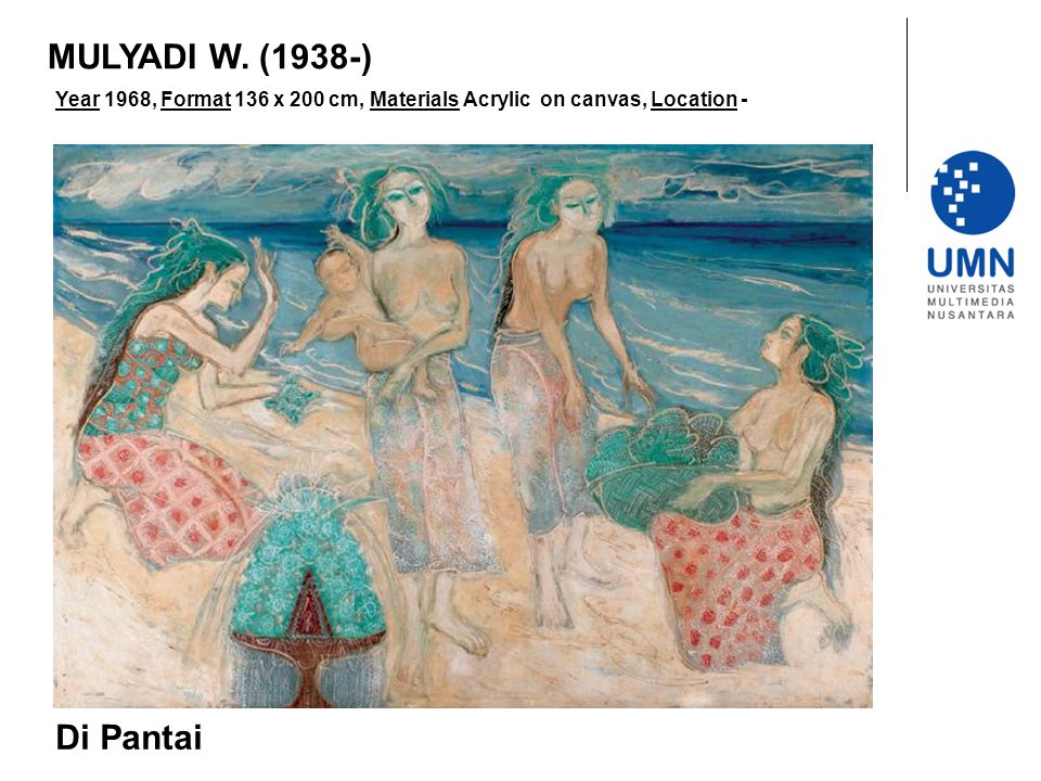 Year 1968, Format 136 x 200 cm, Materials Acrylic on canvas, Location - Di Pantai MULYADI W. (1938-)
