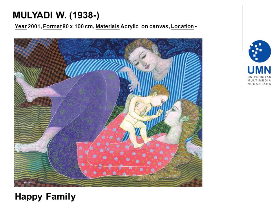 Year 2001, Format 80 x 100 cm, Materials Acrylic on canvas, Location - Happy Family MULYADI W. (1938-)