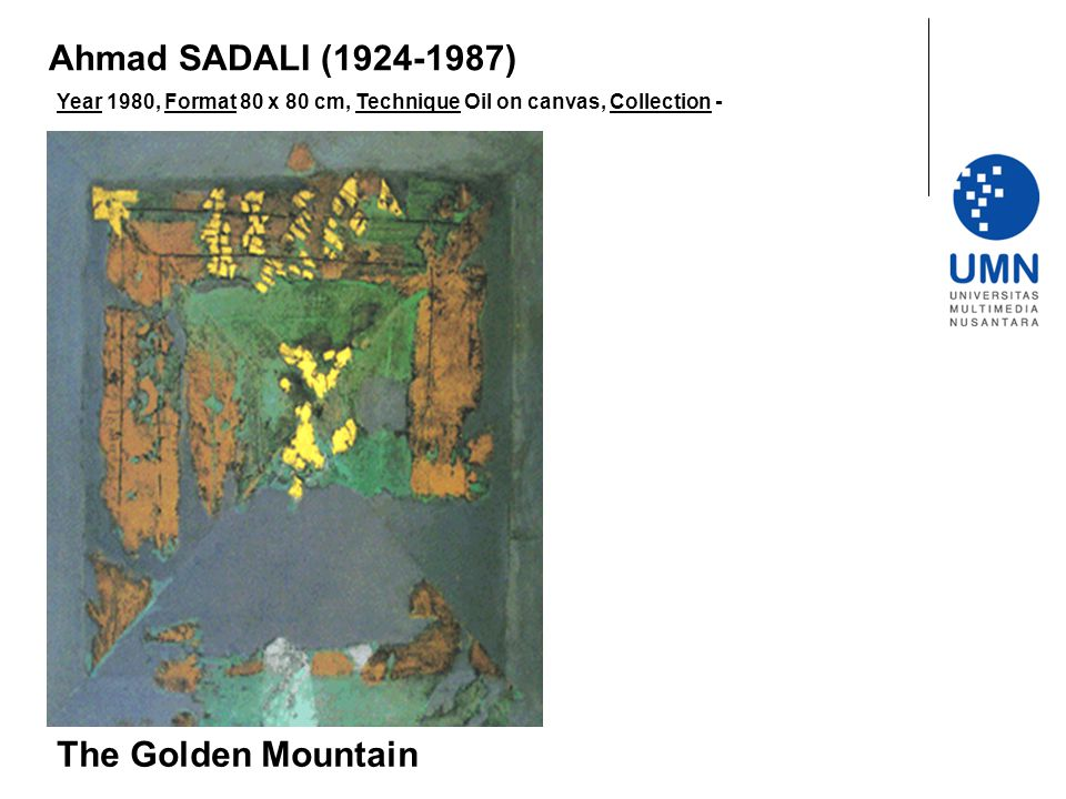 Year 1980, Format 80 x 80 cm, Technique Oil on canvas, Collection - The Golden Mountain Ahmad SADALI (1924-1987)