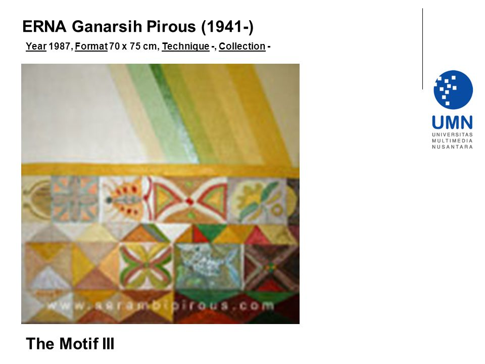 Year 1987, Format 70 x 75 cm, Technique -, Collection - The Motif III ERNA Ganarsih Pirous (1941-)
