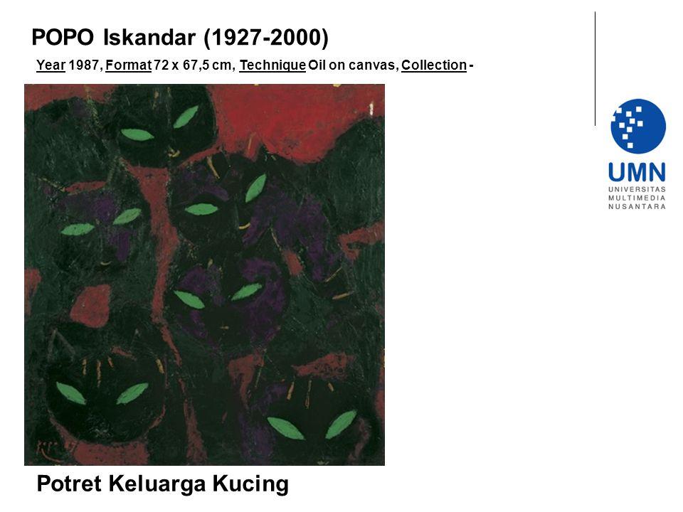 Year 1987, Format 72 x 67,5 cm, Technique Oil on canvas, Collection - Potret Keluarga Kucing POPO Iskandar (1927-2000)