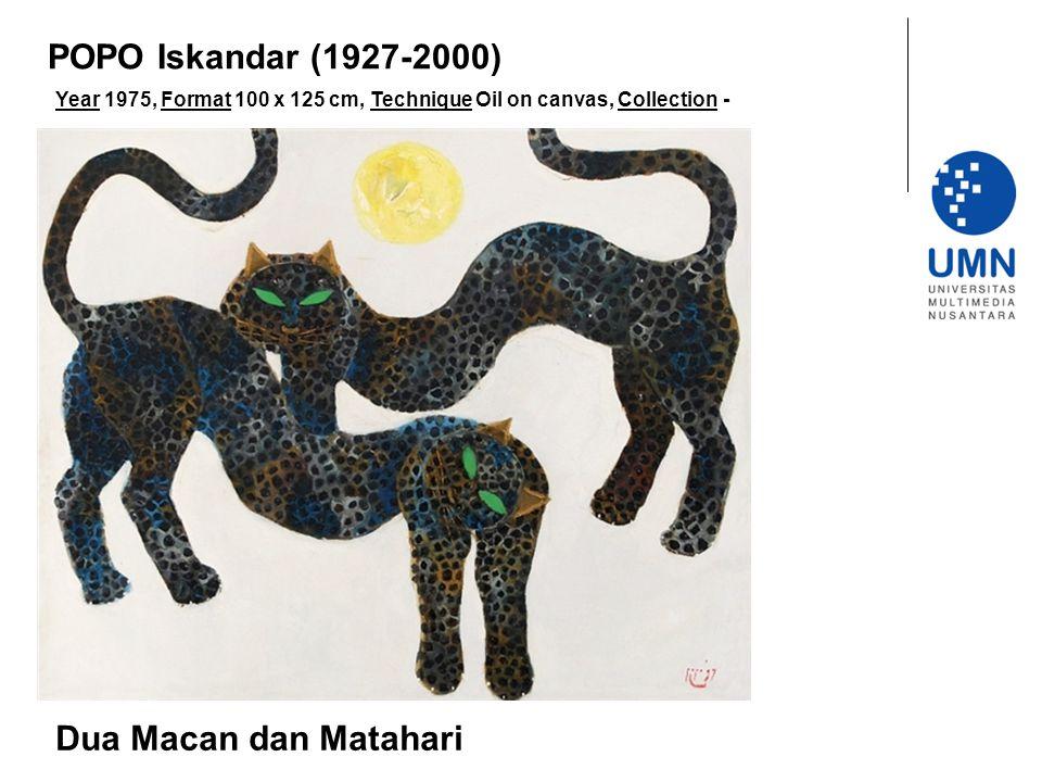 Year 1975, Format 100 x 125 cm, Technique Oil on canvas, Collection - Dua Macan dan Matahari POPO Iskandar (1927-2000)