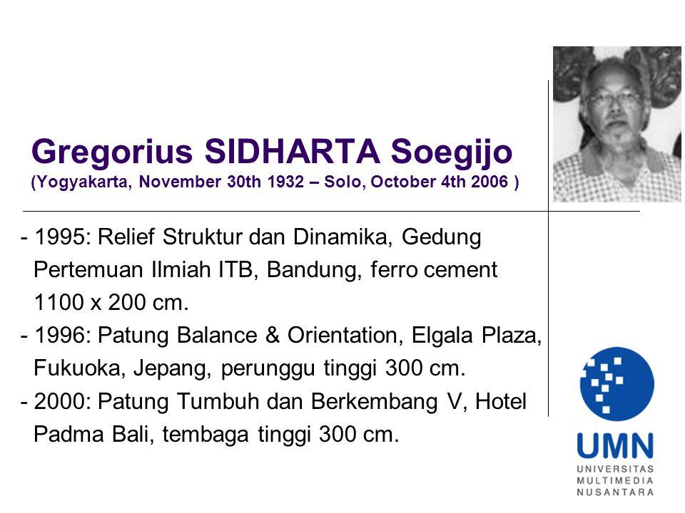 Gregorius SIDHARTA Soegijo (Yogyakarta, November 30th 1932 – Solo, October 4th 2006 ) - 1995: Relief Struktur dan Dinamika, Gedung Pertemuan Ilmiah ITB, Bandung, ferro cement 1100 x 200 cm.