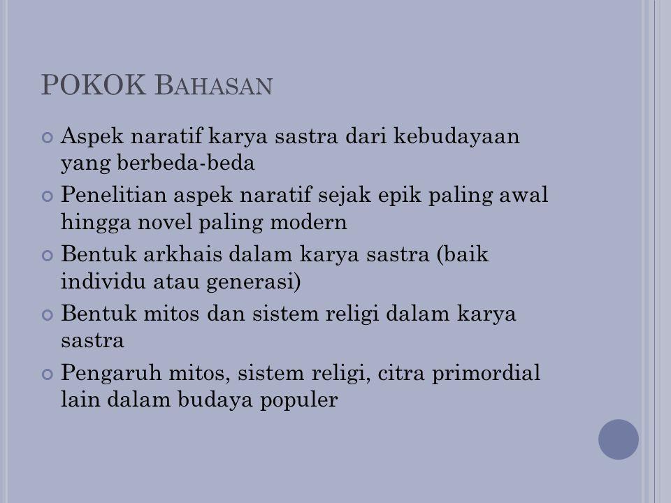 POKOK B AHASAN Aspek naratif karya sastra dari kebudayaan yang berbeda-beda Penelitian aspek naratif sejak epik paling awal hingga novel paling modern
