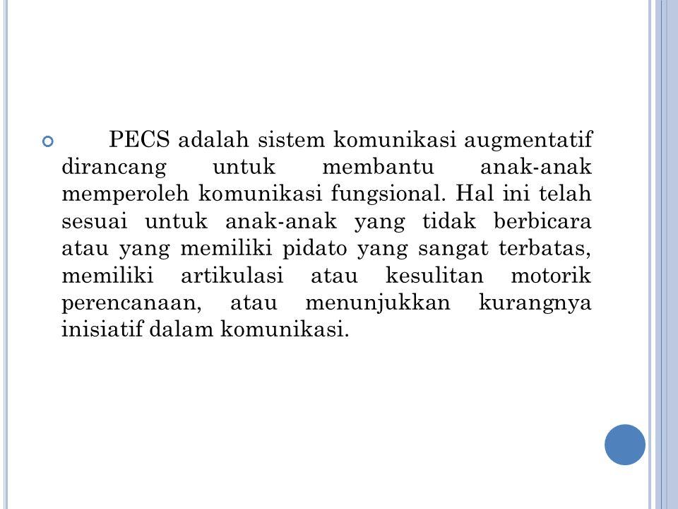 PECS adalah sistem komunikasi augmentatif dirancang untuk membantu anak-anak memperoleh komunikasi fungsional.
