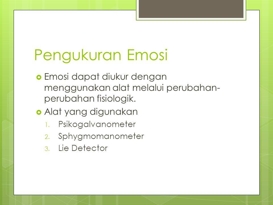 Pengukuran Emosi  Emosi dapat diukur dengan menggunakan alat melalui perubahan- perubahan fisiologik.  Alat yang digunakan 1. Psikogalvanometer 2. S