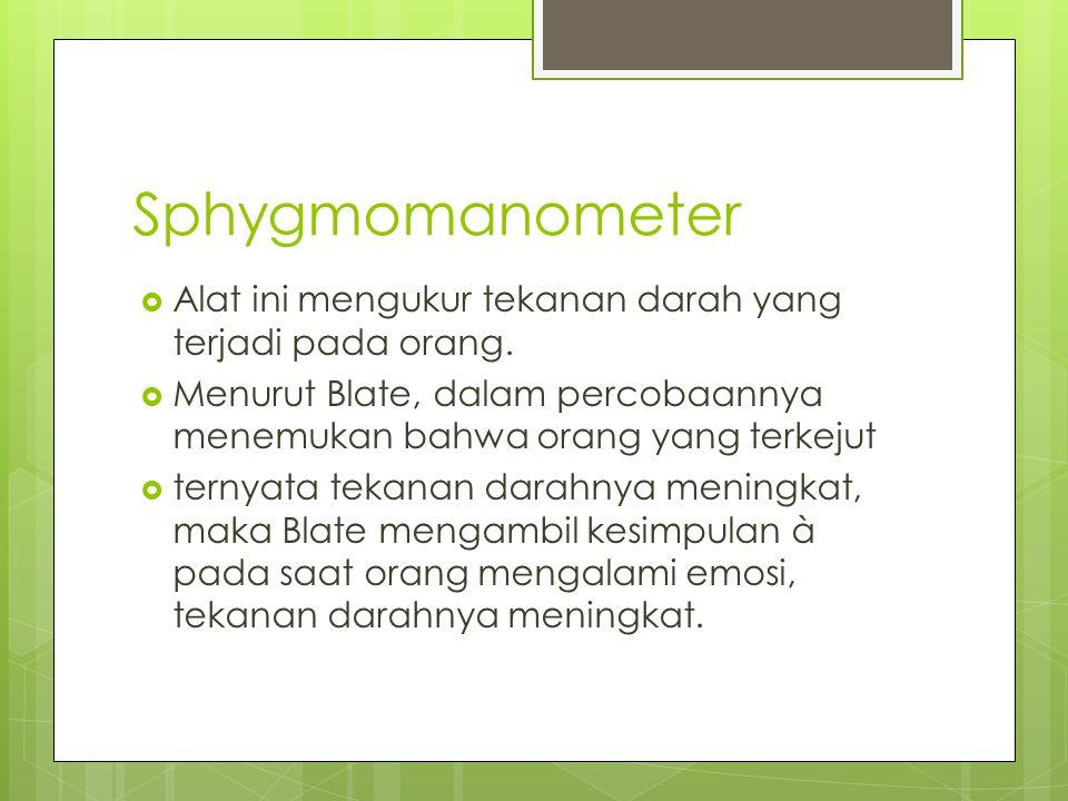 Sphygmomanometer  Alat ini mengukur tekanan darah yang terjadi pada orang.  Menurut Blate, dalam percobaannya menemukan bahwa orang yang terkejut 