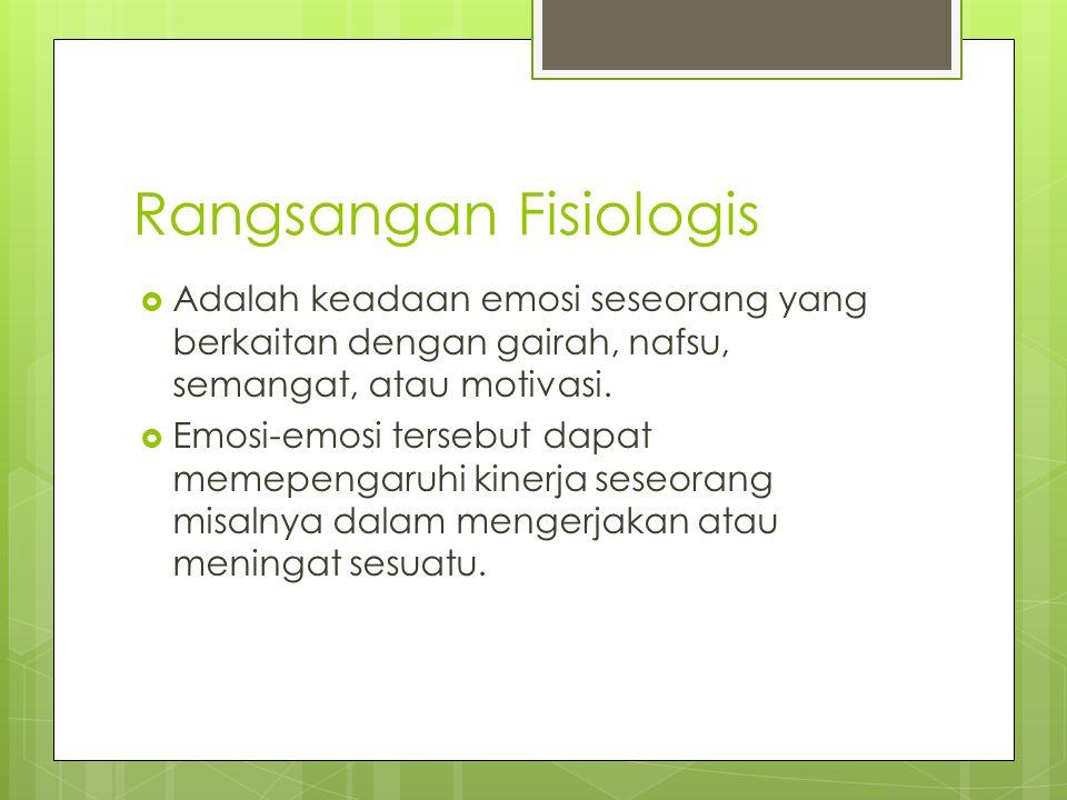 Rangsangan Fisiologis  Adalah keadaan emosi seseorang yang berkaitan dengan gairah, nafsu, semangat, atau motivasi.  Emosi-emosi tersebut dapat meme