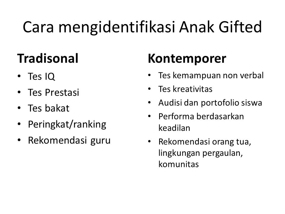 Cara mengidentifikasi Anak Gifted Tradisonal Tes IQ Tes Prestasi Tes bakat Peringkat/ranking Rekomendasi guru Kontemporer Tes kemampuan non verbal Tes