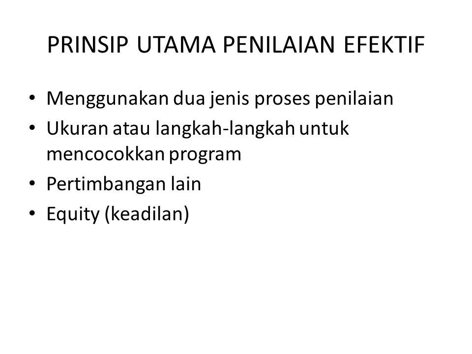 PRINSIP UTAMA PENILAIAN EFEKTIF Menggunakan dua jenis proses penilaian Ukuran atau langkah-langkah untuk mencocokkan program Pertimbangan lain Equity
