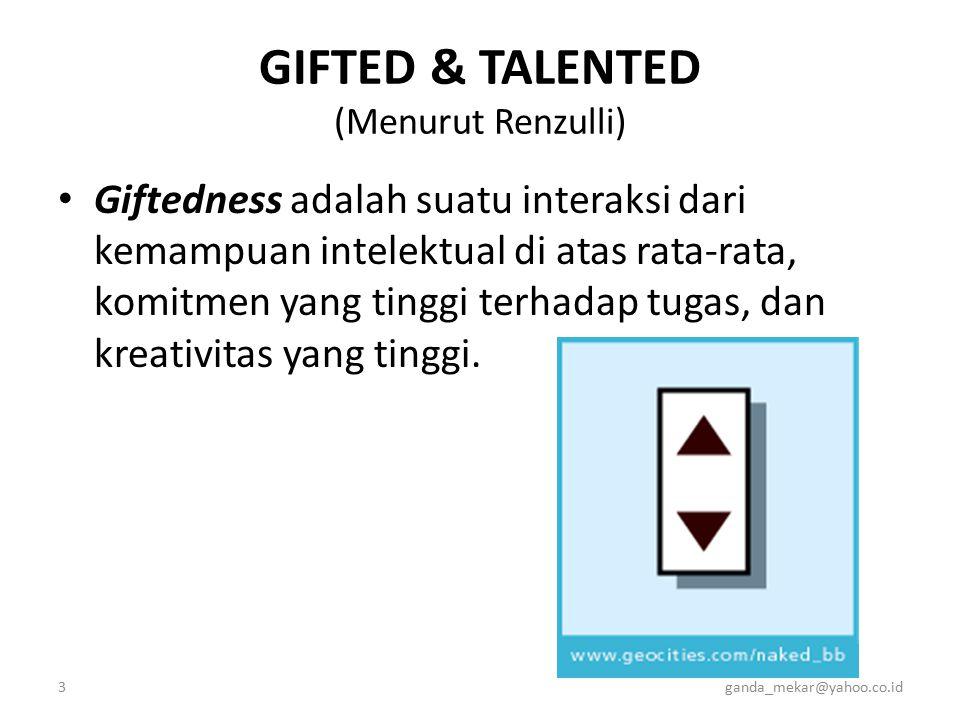 3ganda_mekar@yahoo.co.id GIFTED & TALENTED (Menurut Renzulli) Giftedness adalah suatu interaksi dari kemampuan intelektual di atas rata-rata, komitmen