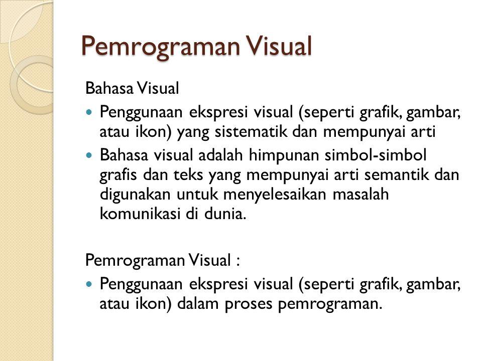 Pemrograman Visual Bahasa Visual Penggunaan ekspresi visual (seperti grafik, gambar, atau ikon) yang sistematik dan mempunyai arti Bahasa visual adalah himpunan simbol-simbol grafis dan teks yang mempunyai arti semantik dan digunakan untuk menyelesaikan masalah komunikasi di dunia.