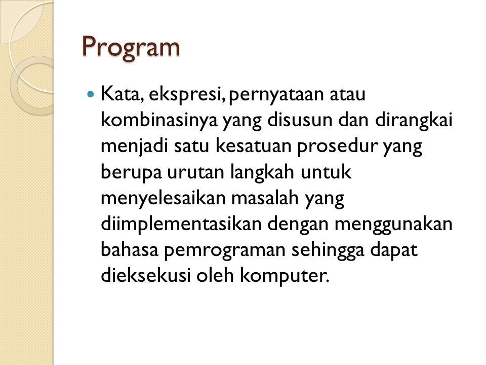 Program Kata, ekspresi, pernyataan atau kombinasinya yang disusun dan dirangkai menjadi satu kesatuan prosedur yang berupa urutan langkah untuk menyelesaikan masalah yang diimplementasikan dengan menggunakan bahasa pemrograman sehingga dapat dieksekusi oleh komputer.