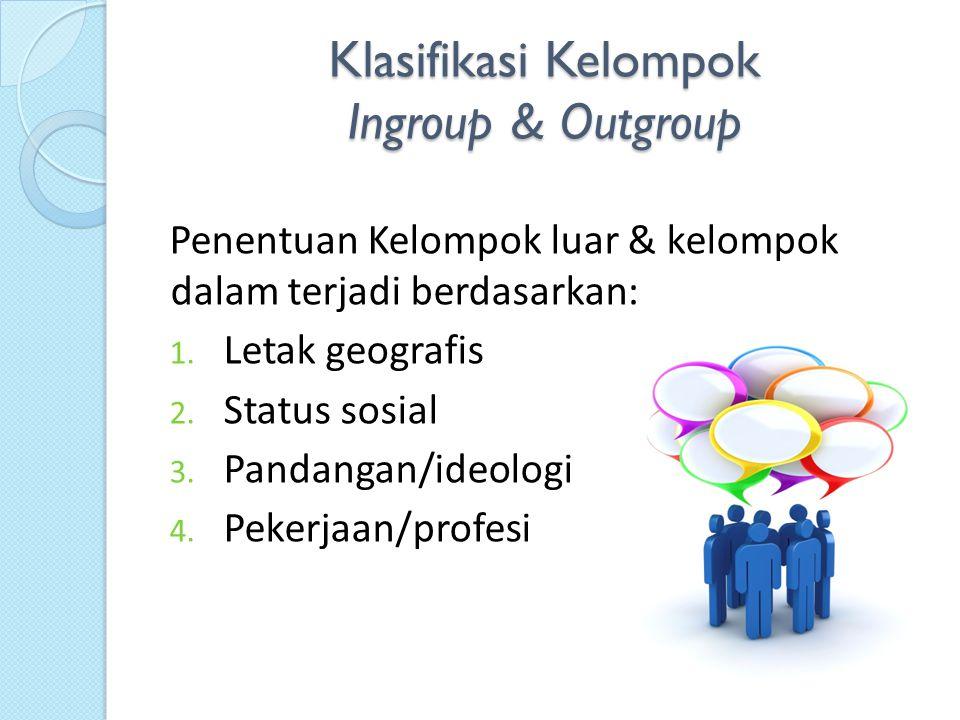 Klasifikasi Kelompok Ingroup & Outgroup Penentuan Kelompok luar & kelompok dalam terjadi berdasarkan: 1. Letak geografis 2. Status sosial 3. Pandangan