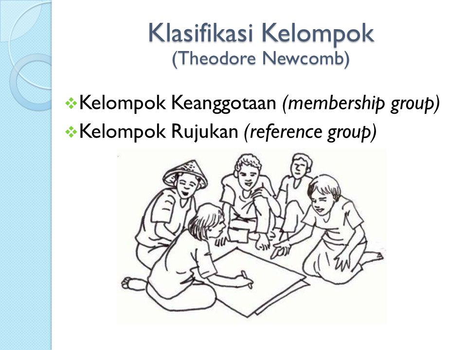  Kelompok Keanggotaan (membership group)  Kelompok Rujukan (reference group) Klasifikasi Kelompok (Theodore Newcomb)