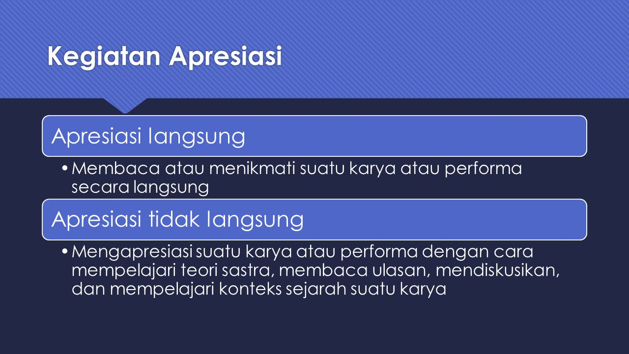 Kegiatan Apresiasi Apresiasi langsung Membaca atau menikmati suatu karya atau performa secara langsung Apresiasi tidak langsung Mengapresiasi suatu ka