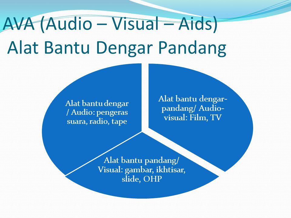 AVA (Audio – Visual – Aids) Alat Bantu Dengar Pandang Alat bantu dengar- pandang/ Audio- visual: Film, TV Alat bantu pandang/ Visual: gambar, ikhtisar