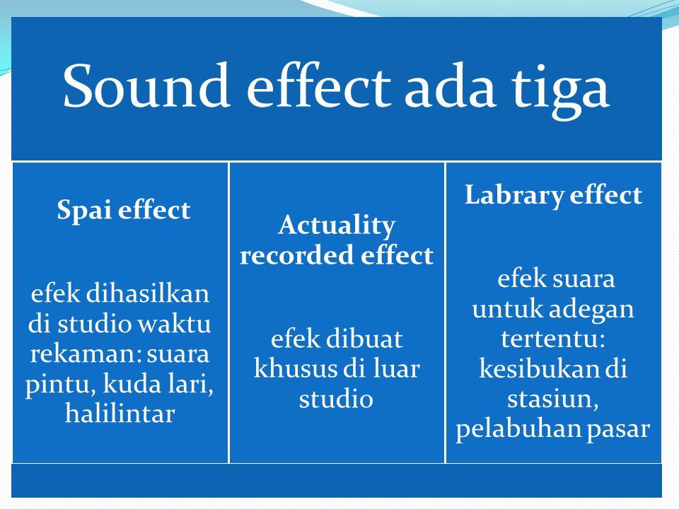 Sound effect ada tiga Spai effect efek dihasilkan di studio waktu rekaman: suara pintu, kuda lari, halilintar Actuality recorded effect efek dibuat kh