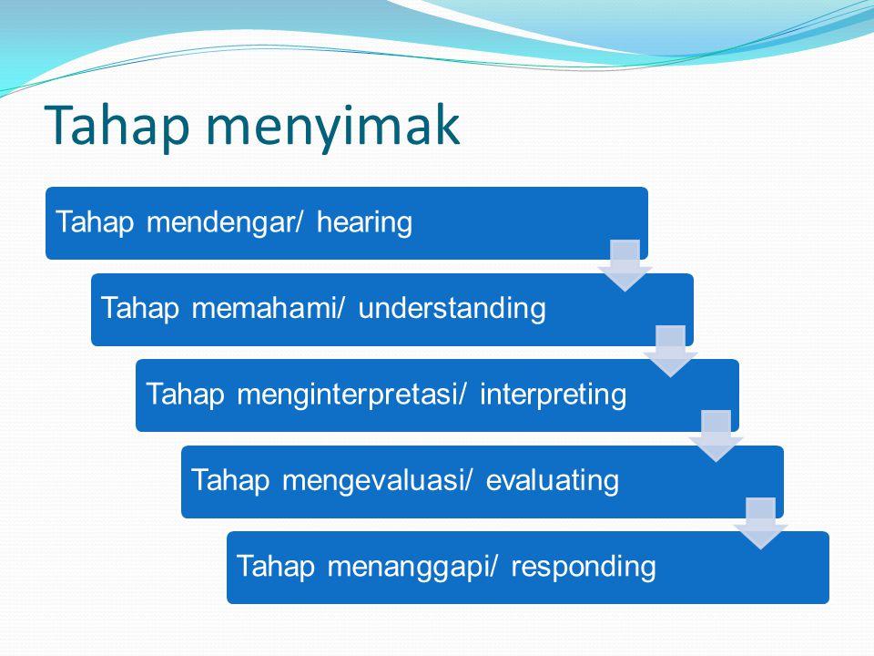 Tahap menyimak Tahap mendengar/ hearingTahap memahami/ understandingTahap menginterpretasi/ interpretingTahap mengevaluasi/ evaluatingTahap menanggapi