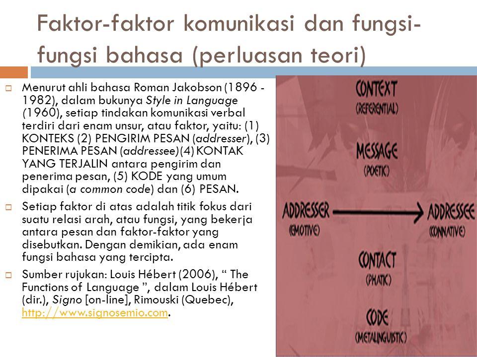 Faktor-faktor komunikasi dan fungsi- fungsi bahasa (perluasan teori)  Menurut ahli bahasa Roman Jakobson (1896 - 1982), dalam bukunya Style in Langua