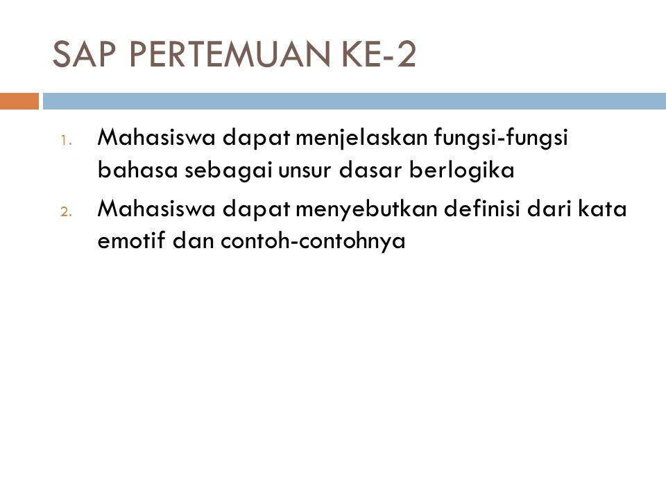SAP PERTEMUAN KE-2 1. Mahasiswa dapat menjelaskan fungsi-fungsi bahasa sebagai unsur dasar berlogika 2. Mahasiswa dapat menyebutkan definisi dari kata