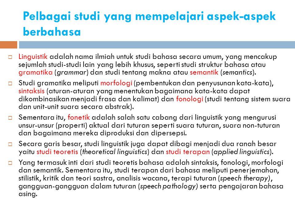 Pelbagai studi yang mempelajari aspek-aspek berbahasa  Linguistik adalah nama ilmiah untuk studi bahasa secara umum, yang mencakup sejumlah studi-stu