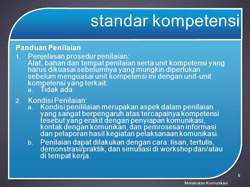 standar kompetensi Panduan Penilaian 3.