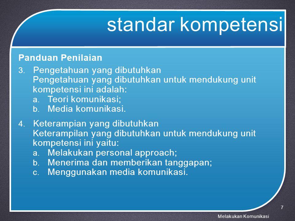 standar kompetensi Panduan Penilaian 5.