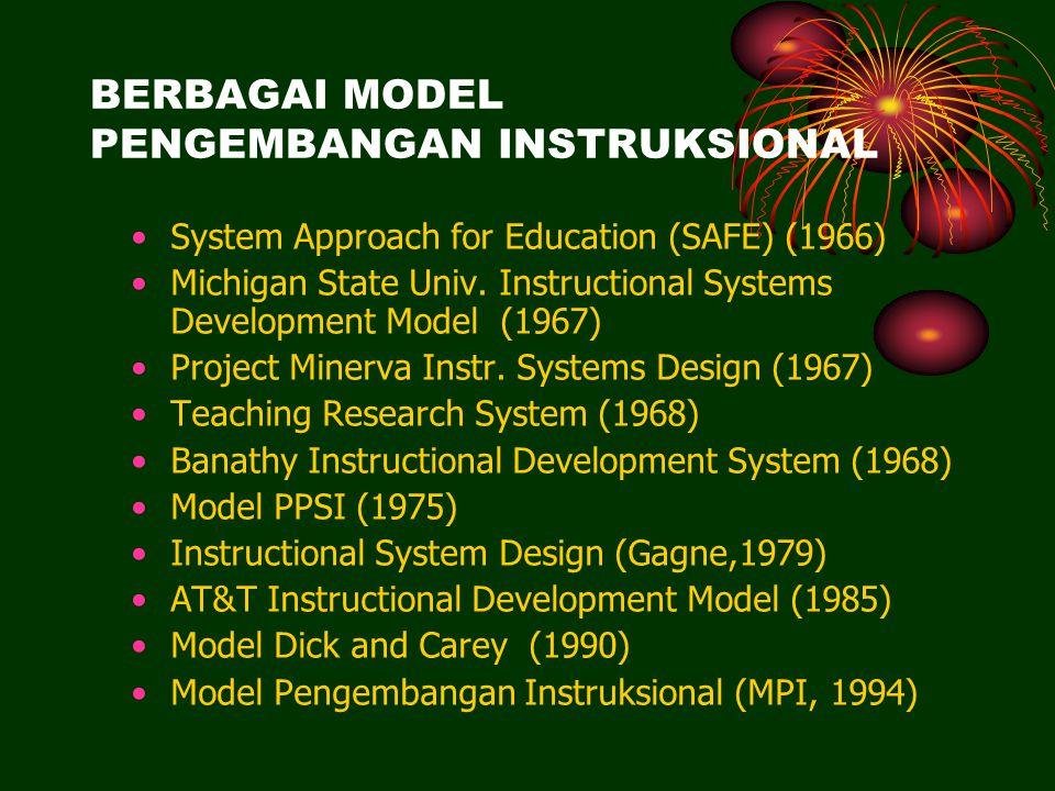 BERBAGAI MODEL PENGEMBANGAN INSTRUKSIONAL System Approach for Education (SAFE) (1966) Michigan State Univ.