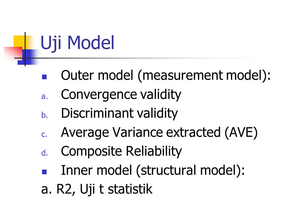 Uji Model Outer model (measurement model): a. Convergence validity b. Discriminant validity c. Average Variance extracted (AVE) d. Composite Reliabili