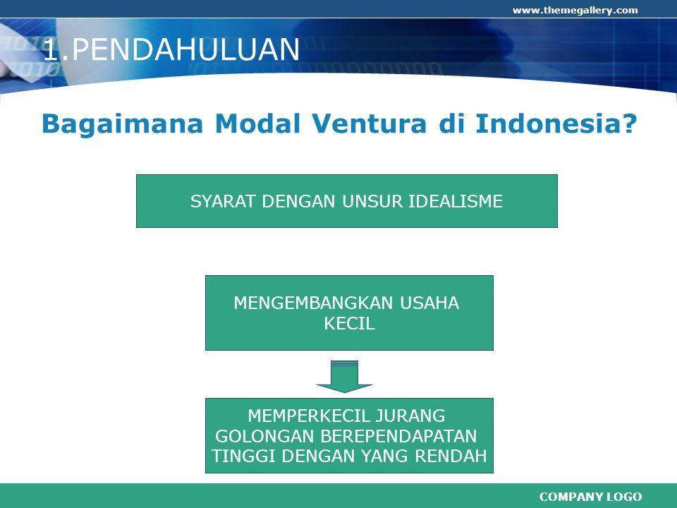 COMPANY LOGO www.themegallery.com SYARAT DENGAN UNSUR IDEALISME 1.PENDAHULUAN Bagaimana Modal Ventura di Indonesia? MEMPERKECIL JURANG GOLONGAN BEREPE